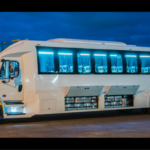 image of white trolley coach