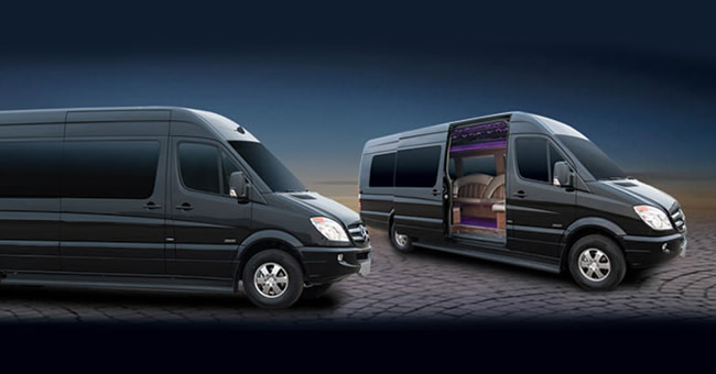 image of two Sprinter limousines on Bel Aire Limo website