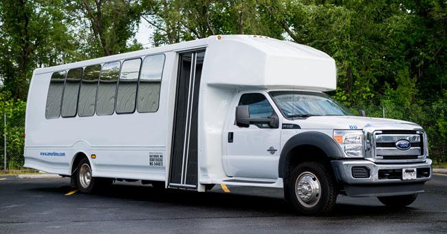 image of white shuttle bus