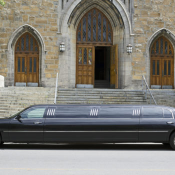 image of limo outside of church